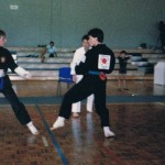 Point fighting in a Hawaii Tournament as a green belt.